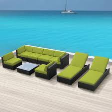 luxxella wicker 9 pc sofa sectional outdoor patio furniture