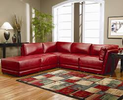adorable sharp red color distressed leather sectional on laminated