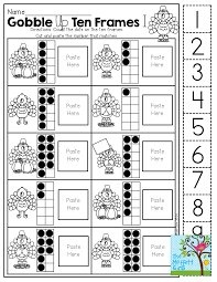 elementary thanksgiving activities ten frame cut and paste tons of hands on printables