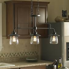 Lighting Over A Kitchen Island by Shop Allen Roth Bristow 36 In W 3 Light Mission Bronze Kitchen