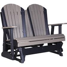 Plastic Loveseat Outdoor Luxcraft Adirondack 4 U0027 Recycled Plastic Glider Chair Rocking