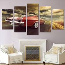 online shop modern prints 5 panel red car modular pictures home
