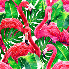 Hawaiian Print Shower Curtains by 48256804 Pink Flamingo Monstera Leafs Palm Leaf Seamless Tropical