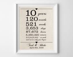 year wedding anniversary ideas 10 years together cotton gift print 10th anniversary gifts 10 year