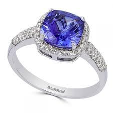 Tanzanite U0026 Diamond Halo Ring In 14k White Gold