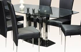 glass top steel base modern dining table w optional chairs