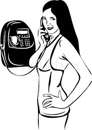 a sketch of a talking on pay phone stock vector colourbox