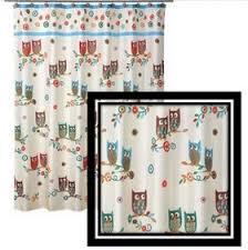 Owl Shower Curtains Fabric Owl Shower Curtain Shower Curtain Rod
