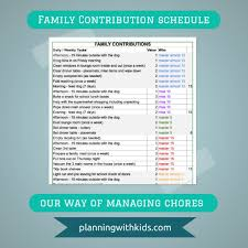 family contribution schedule planning with