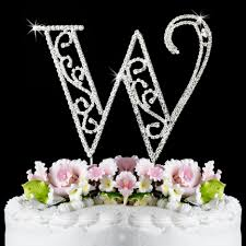 w cake topper w wf monogram wedding cake toppers