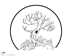 spook halloween tree coloring page clipart fort