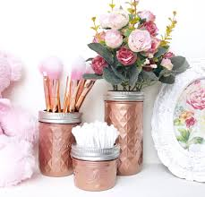 Gold Home Decor Accessories Rose Gold Makeup Brush Holder Copper Desk Accessories