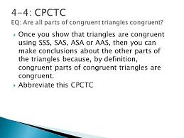 Cpctc Worksheet Answers Congruent Triangles Geometry Chapter Ppt