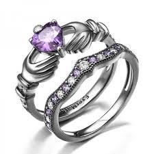 claddagh engagement ring 925 sterling silver purple diamond claddagh engagement ring