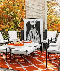 Orange Patio Cushions by Outdoor Deck Patio Features Orange And Black Deck Design By Megan