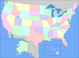 map of us states political united states