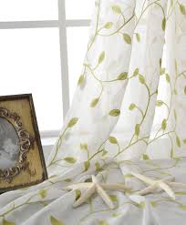 Curtains With Green White Tulle Curtain With Lime Green Embroiderry Leaves Pattern For