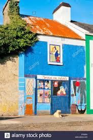 dog in front of mural painting of fishing tackle shop in fishing dog in front of mural painting of fishing tackle shop in fishing village of kinvara on the south shore of galway bay ireland