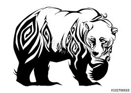 silhouette ferocious bear walking tribal design for tribal tattoo