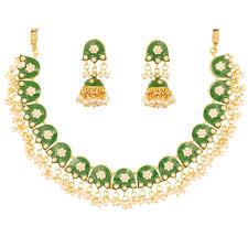 gold choker necklace sets images Buy online indian jadau floral mina faux pearls choker necklace jpg