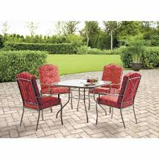 5 Piece Patio Dining Set by Mainstays Warner Heights 5 Piece Patio Dining Set Red Seats 4