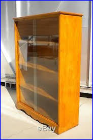 solid maple wood bookcase display cabinet with sliding glass doors