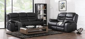 Leather Sofa World Contour Midnight Black Reclining 3 2 1 Seater Leather Sofa Set
