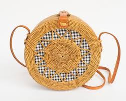 round starwickerstraw bag polkadee