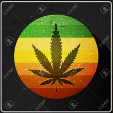 Weed Flag Cannabis Leaf On Rastafarian Color Flag Inside Of Circle With