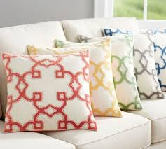 Pottery Barn Kilim Pillow Cover Trellis Velvet Appliqué Pillow Cover Pottery Barn