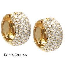 diamond huggie earrings pave set yellow gold diamond huggie earrings de748y