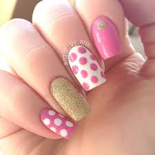 pink polka dot nails with gold accents nail art by erin