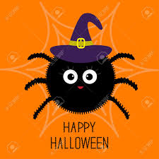 cute happy halloween images cute cartoon fluffy spider on the web witch hat halloween card