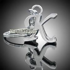 26 english letter alphabet initial name metal key chain ring