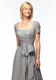 amazing column grey lace short sleeves empire mother of bride