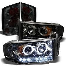 2003 dodge ram tail lights dodge ram 2500 2003 2005 smoked halo projector headlights and tail