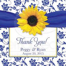 sunflower ribbon wedding favor gift tag sunflower royal blue damask
