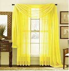 Sheer Valance Curtains Monagifts Bright Yellow Scarf Voile Window Panel Solid