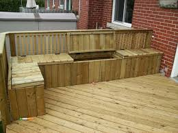 deck plan with built in benches for seating and storage within