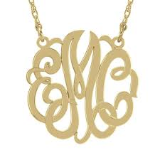 script monogram necklace 40mm script monogram necklace in sterling silver with 14k gold