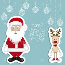 illustration cartoon christmas reindeer santa claus