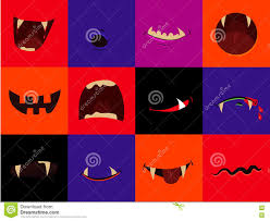 halloween vector icon set cartoon monster mouths vampire
