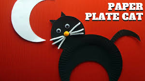 halloween craft how to make a paper plate cat youtube
