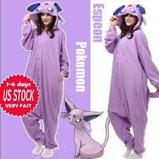 Kigurumi Halloween Costume Anime Pokemon Espeon Cosplay Pajamas Kigurumi Onesie Sleepwear