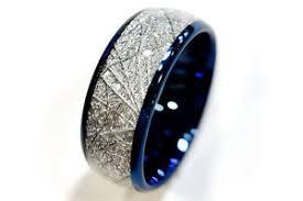 meteorite mens wedding band blue meteorite inlay tungsten wedding bands mens women tungsten