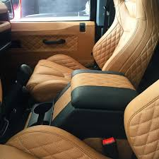 tan land rover discovery quilted leather interior on the defender custom made in tan with