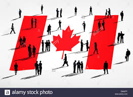 Flag People Canadian Flag And A Group Of Business People Stock Photo Royalty