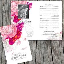 create funeral programs beautiful soft peonies funeral or memorial program bulletin