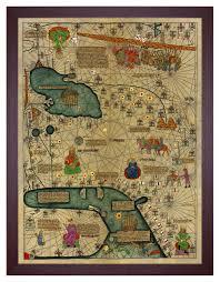 Framed World Map by Catalan Atlas 1375 Cresques 4 Piece Framed Wall Art Set