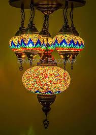 Turkish Chandelier Handmade Turkish Mosaic Chandelier Celestial Design Flare